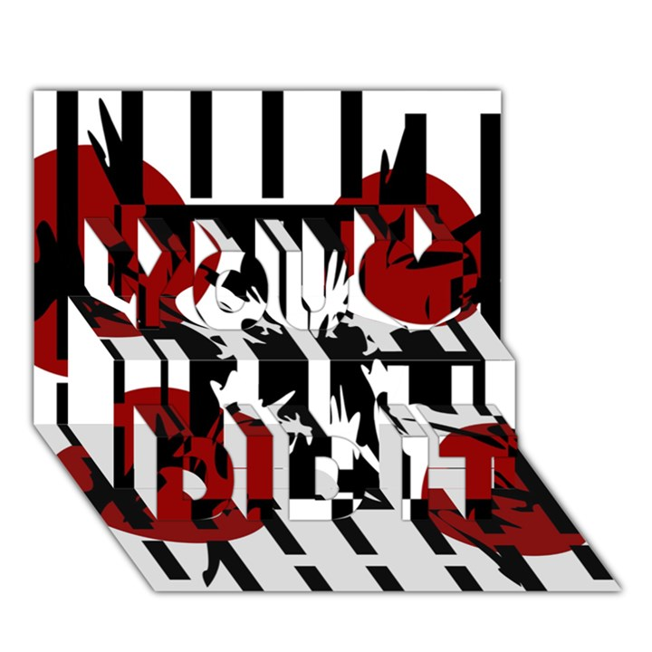 Red, black and white elegant design You Did It 3D Greeting Card (7x5)