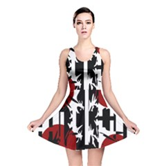 Red, Black And White Elegant Design Reversible Skater Dress by Valentinaart