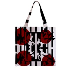 Red, Black And White Elegant Design Zipper Grocery Tote Bag by Valentinaart