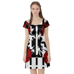 Red, Black And White Elegant Design Short Sleeve Skater Dress by Valentinaart