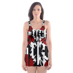 Red, Black And White Elegant Design Skater Dress Swimsuit by Valentinaart