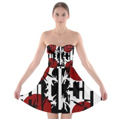 Red, Black And White Elegant Design Strapless Dresses by Valentinaart