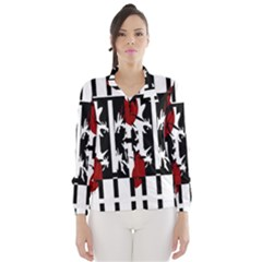 Red, Black And White Elegant Design Wind Breaker (women) by Valentinaart