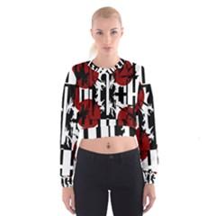 Red, Black And White Elegant Design Women s Cropped Sweatshirt by Valentinaart