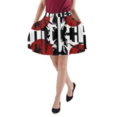 Red, Black And White Elegant Design A Line Pocket Skirt by Valentinaart