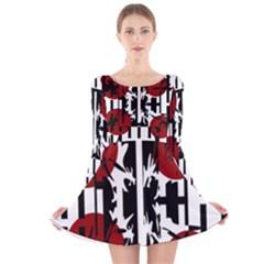Red, Black And White Elegant Design Long Sleeve Velvet Skater Dress by Valentinaart