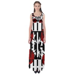 Red, Black And White Elegant Design Empire Waist Maxi Dress by Valentinaart