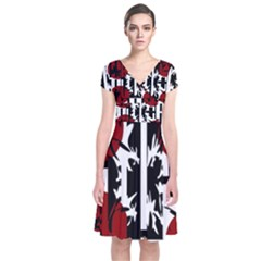 Red, Black And White Elegant Design Short Sleeve Front Wrap Dress by Valentinaart