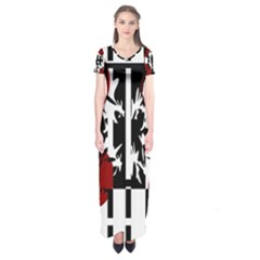 Red, Black And White Elegant Design Short Sleeve Maxi Dress by Valentinaart