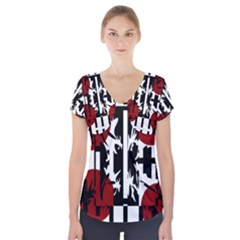 Red, Black And White Elegant Design Short Sleeve Front Detail Top by Valentinaart