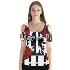 Red, Black And White Elegant Design Butterfly Sleeve Cutout Tee  by Valentinaart