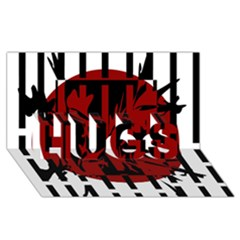 Red, Black And White Decorative Design Hugs 3d Greeting Card (8x4) by Valentinaart