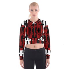 Red, Black And White Decorative Design Women s Cropped Sweatshirt by Valentinaart