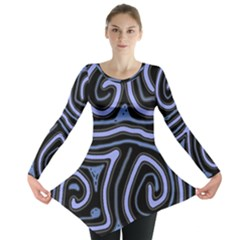 Blue Abstract Design Long Sleeve Tunic  by Valentinaart