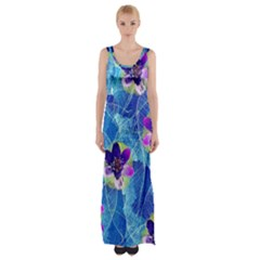 Purple Flowers Maxi Thigh Split Dress