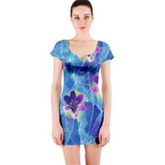 Purple Flowers Short Sleeve Bodycon Dress by DanaeStudio