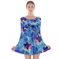 Purple Flowers Long Sleeve Skater Dress by DanaeStudio