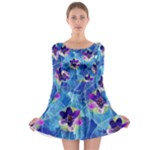 Purple Flowers Long Sleeve Skater Dress