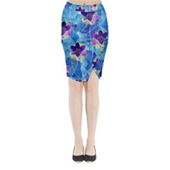 Purple Flowers Midi Wrap Pencil Skirt