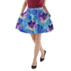 Purple Flowers A Line Pocket Skirt
