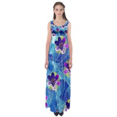 Purple Flowers Empire Waist Maxi Dress by DanaeStudio