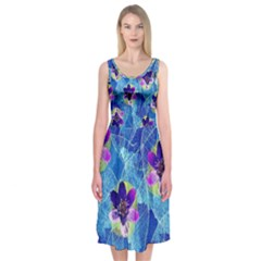 Purple Flowers Midi Sleeveless Dress