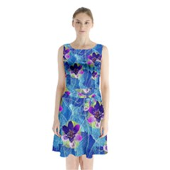 Purple Flowers Sleeveless Waist Tie Dress