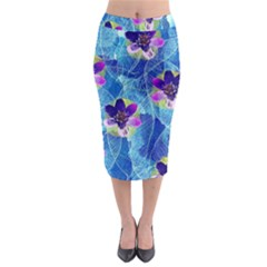 Purple Flowers Midi Pencil Skirt