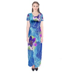 Purple Flowers Short Sleeve Maxi Dress