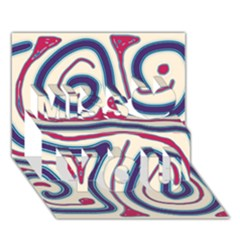 Blue And Red Lines Miss You 3d Greeting Card (7x5) by Valentinaart