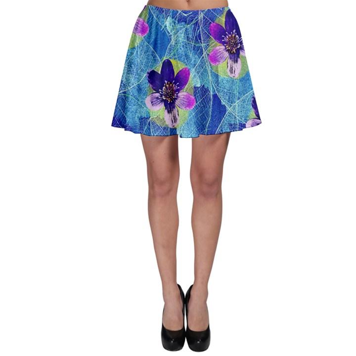 Purple Flowers Skater Skirt