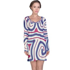 Blue And Red Lines Long Sleeve Nightdress by Valentinaart