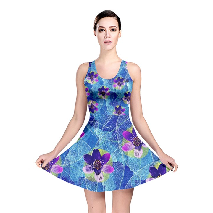 Purple Flowers Reversible Skater Dress