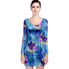 Purple Flowers Long Sleeve Bodycon Dress by DanaeStudio