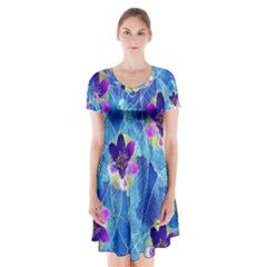 Purple Flowers Short Sleeve V Neck Flare Dress