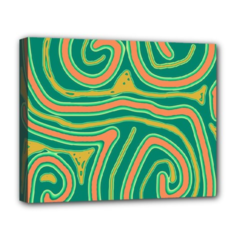 Green And Orange Lines Deluxe Canvas 20  X 16   by Valentinaart