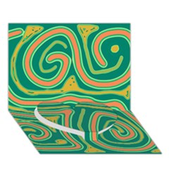 Green And Orange Lines Heart Bottom 3d Greeting Card (7x5) by Valentinaart