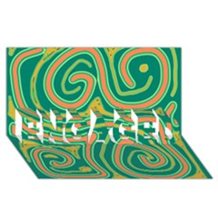 Green And Orange Lines Engaged 3d Greeting Card (8x4)
