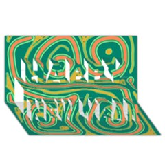 Green And Orange Lines Happy New Year 3d Greeting Card (8x4) by Valentinaart