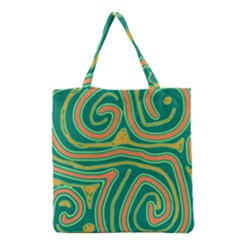 Green And Orange Lines Grocery Tote Bag by Valentinaart