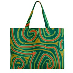 Green And Orange Lines Zipper Mini Tote Bag by Valentinaart