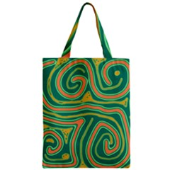Green And Orange Lines Zipper Classic Tote Bag by Valentinaart