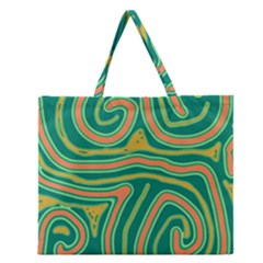 Green And Orange Lines Zipper Large Tote Bag by Valentinaart