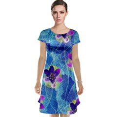 Purple Flowers Cap Sleeve Nightdress