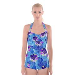 Purple Flowers Boyleg Halter Swimsuit