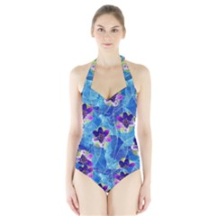 Purple Flowers Halter Swimsuit