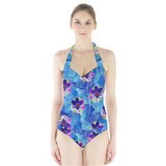 Purple Flowers Halter Swimsuit by DanaeStudio
