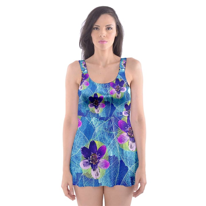 Purple Flowers Skater Dress Swimsuit