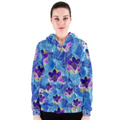 Purple Flowers Women s Zipper Hoodie