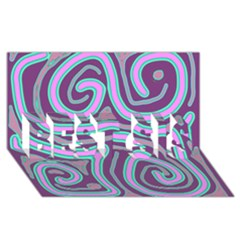 Purple Lines Best Sis 3d Greeting Card (8x4)